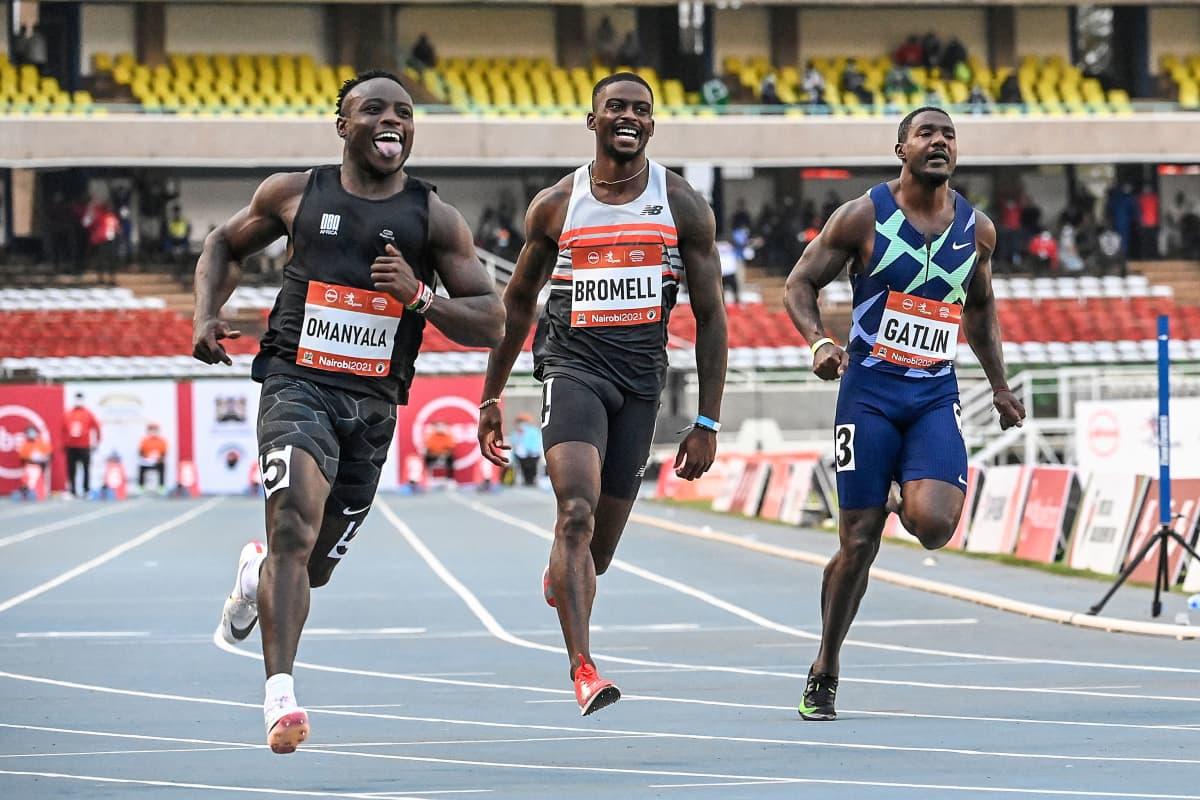 Ferdinand Omanyala, Trayvon Bromell ja Justin Gatlin kilpailivat Keniassa.