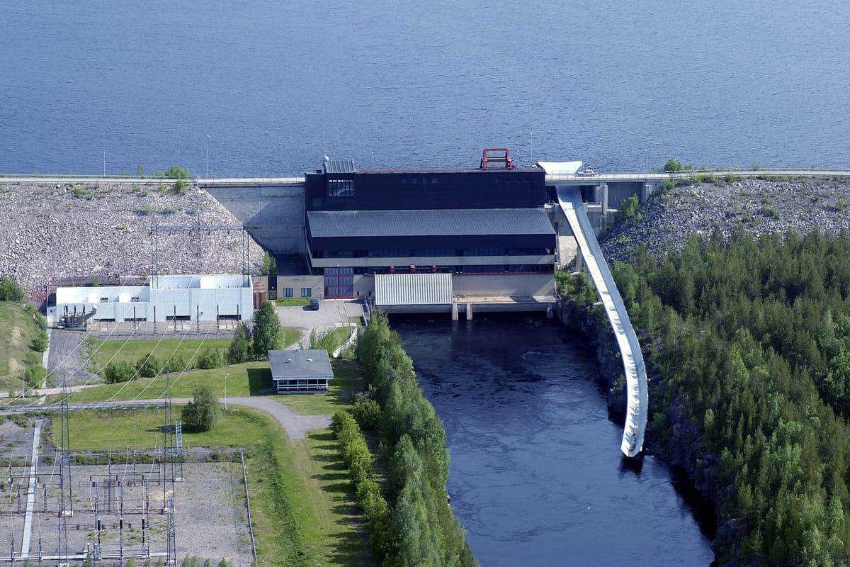 Seitakorvan voimalaitos kuvattuna ylhäältä päin.