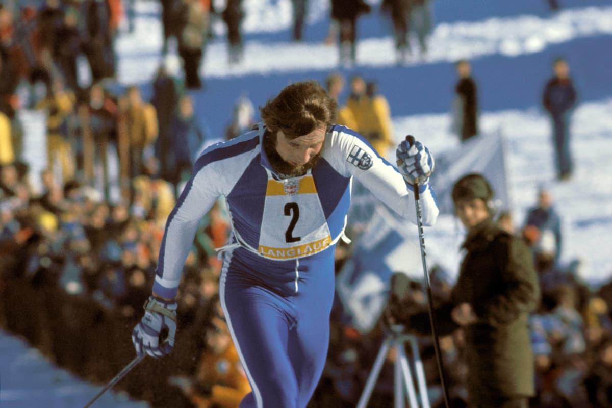 Juha Mieto hiihtokilpailuissa 8.2.1976