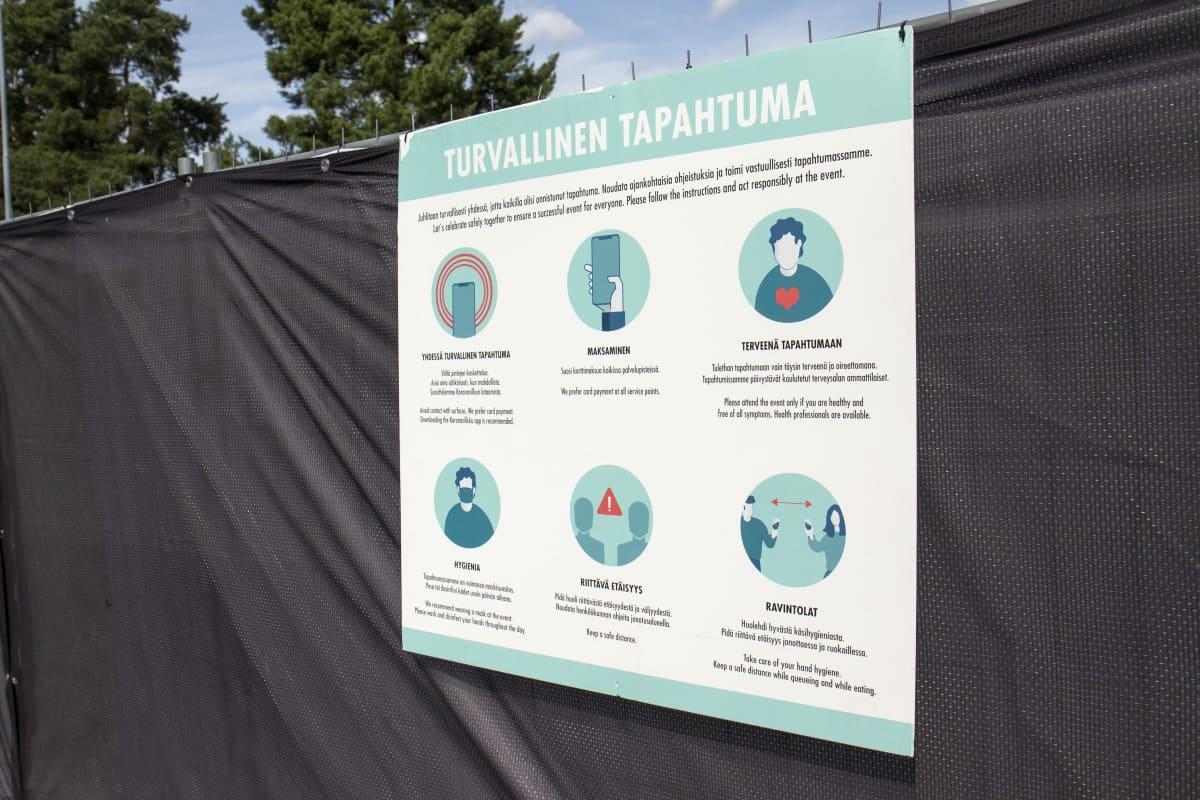 Hygieniaohjeita Tikkurila festivaalileilla.