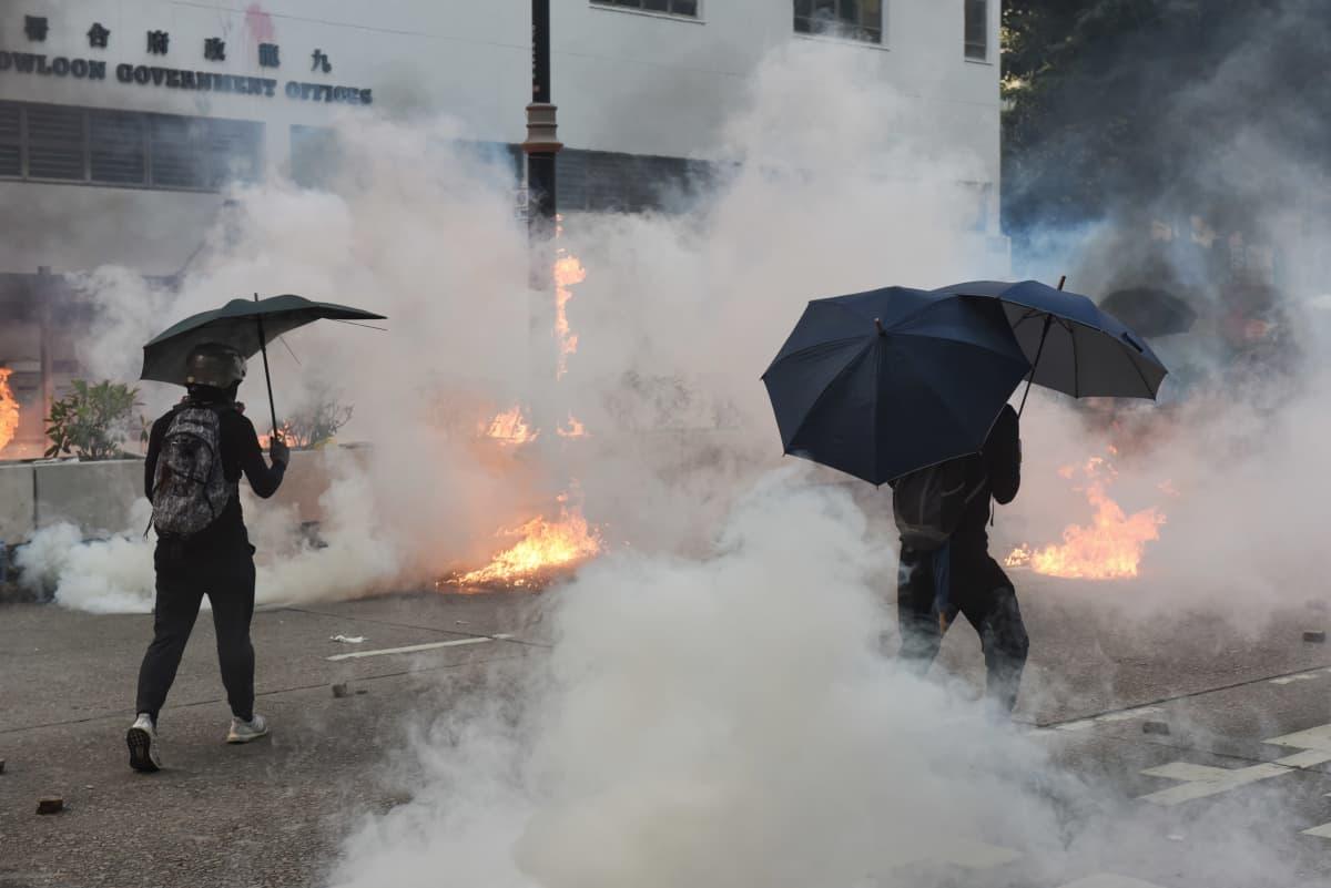 Mielenosoittajat suojautuvat kyynelkaasulta sateenvarjoilla.