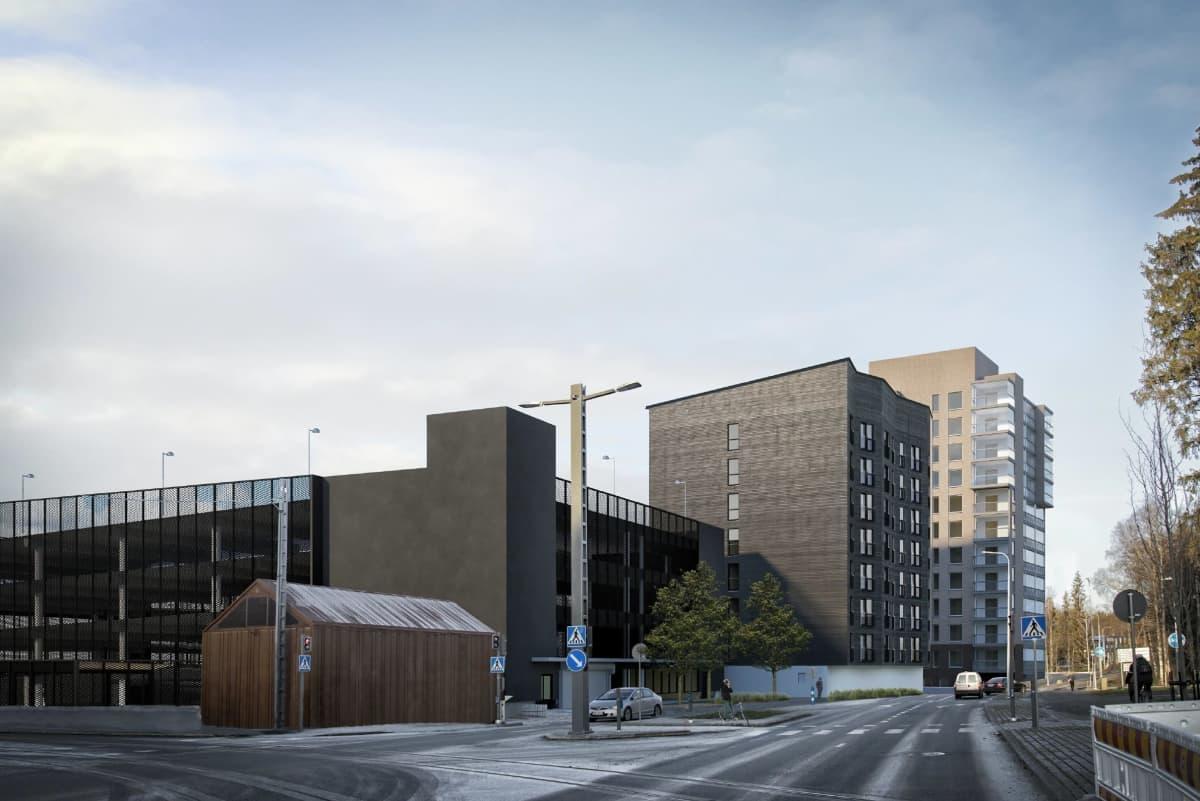 Havainnekuva Tampereen Kauppiin suunnitellusta 8-kerroksisesta opiskelijatalosta, tummasävyinen puukerrostalo.