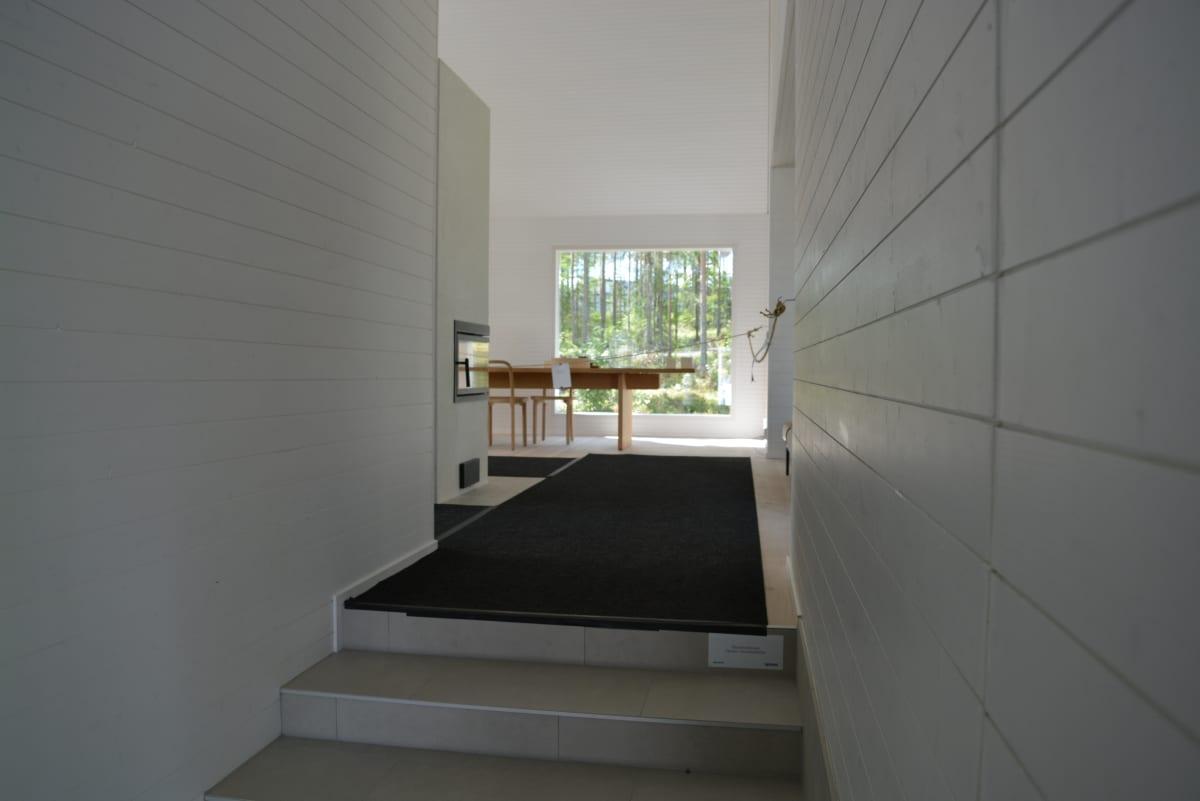 Teemu Hirvilammen mukaan bambusta voidaan voidaan puristaa seinämateriaaleja, kuten puustakin. Kuva Hirvilammen suunnittelemasta puutalosta Seinäjoen Pruukinrannassa.