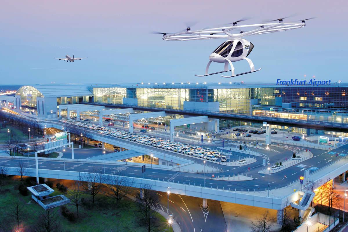Volocopter Frankfurtin lentokentällä havainnekuva