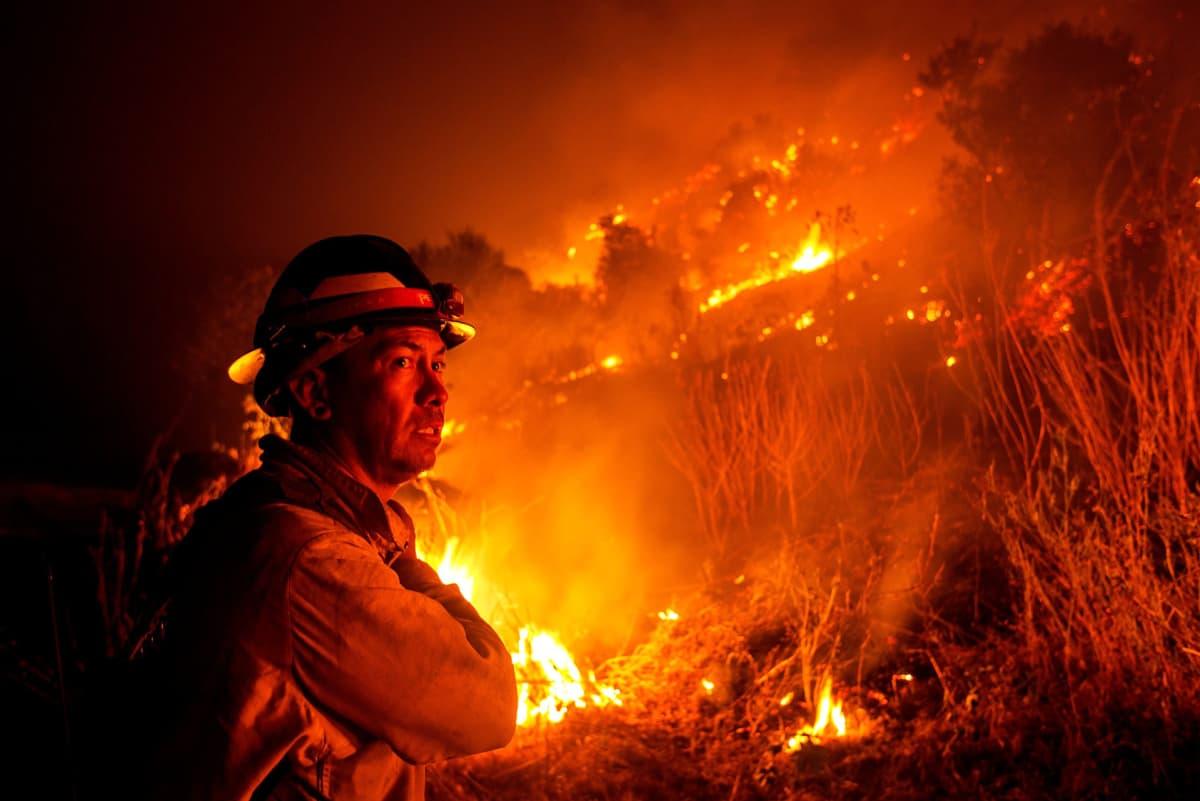 Palomies katselee palavaa maastoa Monrovia Canyon Parkissa Kaliforniassa.