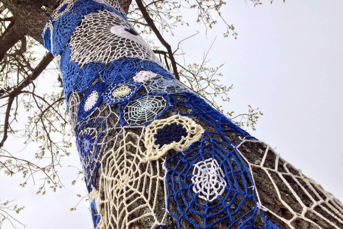 Puun runko, johon on kiinnitetty sinivalkeita virkkuutöitä neulegraffitiksi. Puuhun on puhkeamassa lehti.