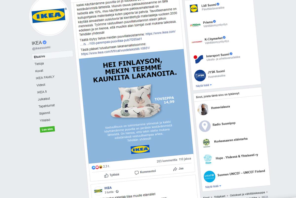 Ikean mainos vastauksena Finlaysonille.
