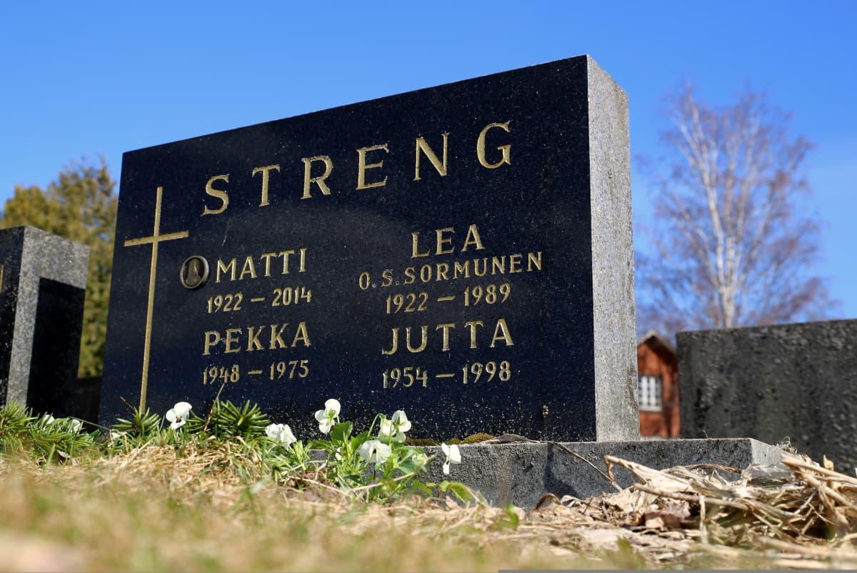 Pekka Streng on haudattu Myrskylän hautausmaalle. Samassa haudassa lepäävät vanhemmat Lea ja Matti sekä nuorempi sisko Jutta.