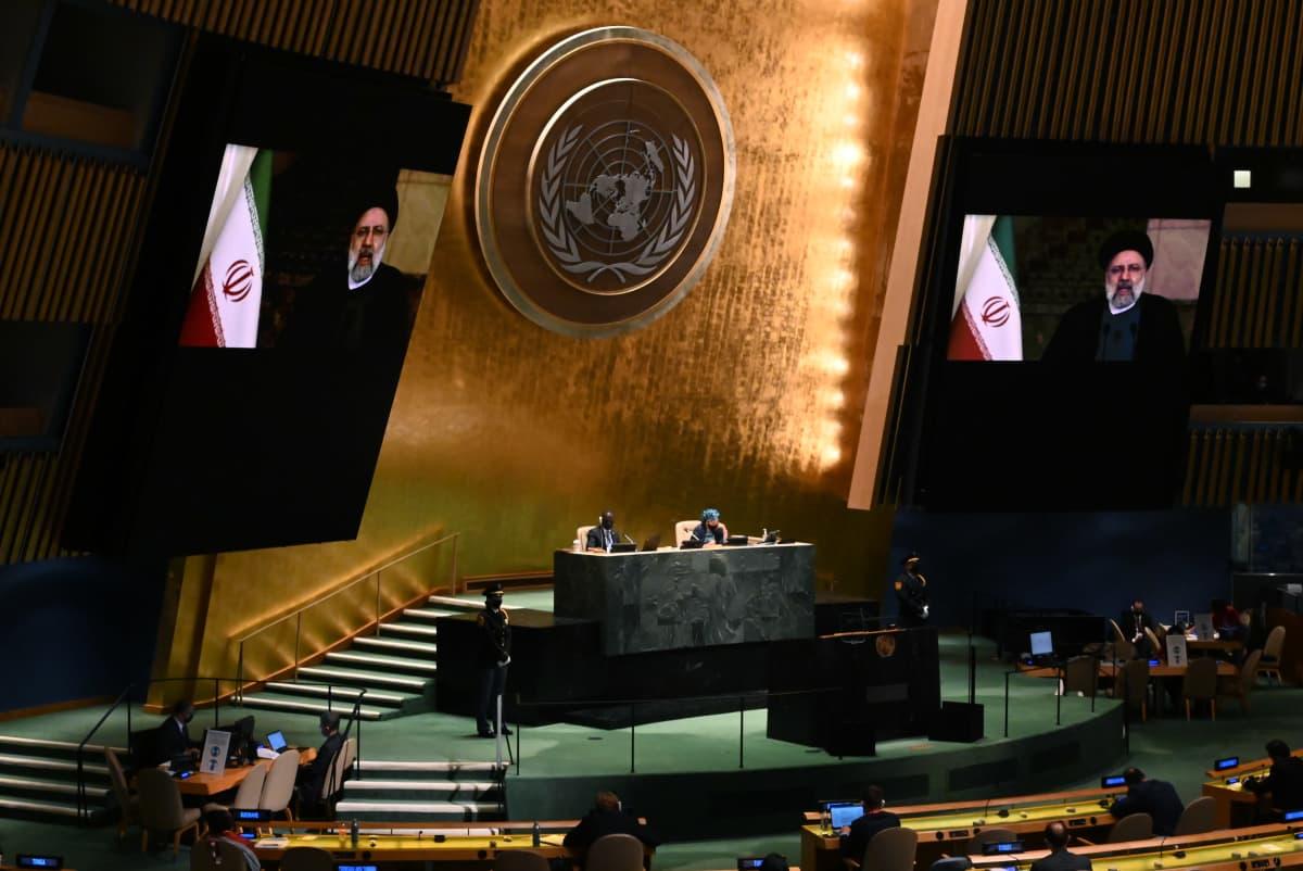 Iranin presidentti Ebrahim Raisi puhui YK:lle videon välityksellä.