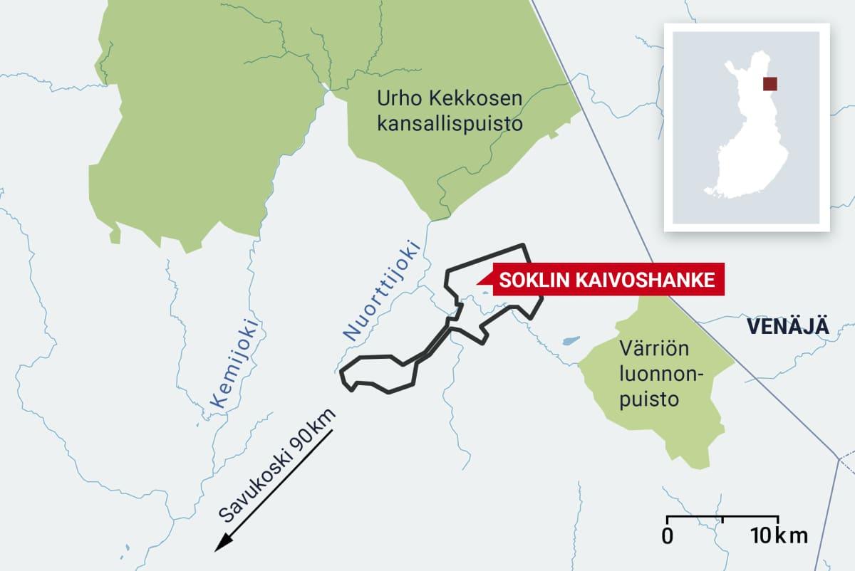 Soklin kaivoshankkeen kartta