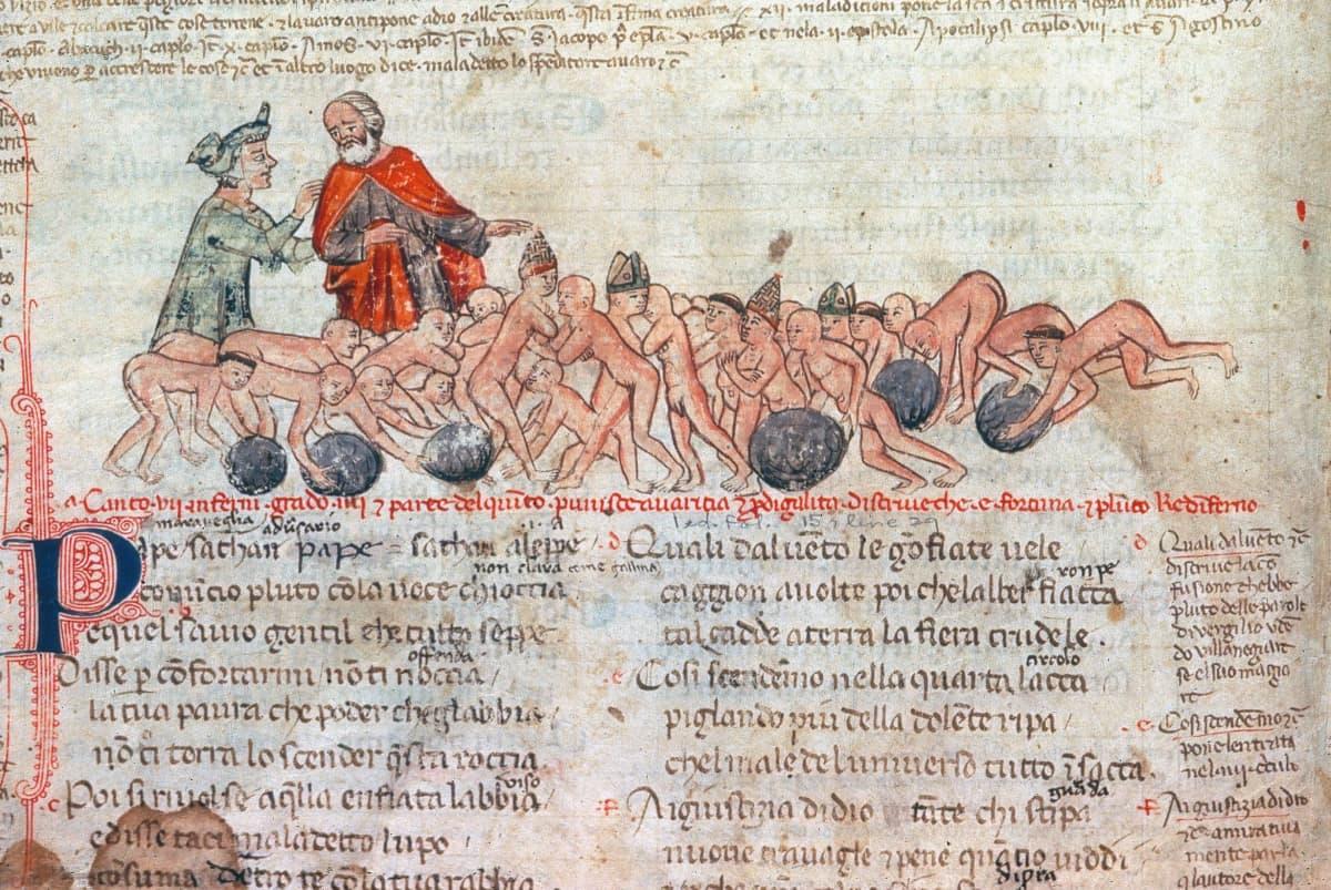 Dante ja Virgil 1300-luvun Italialaisessa käsikirjoituksessa.
