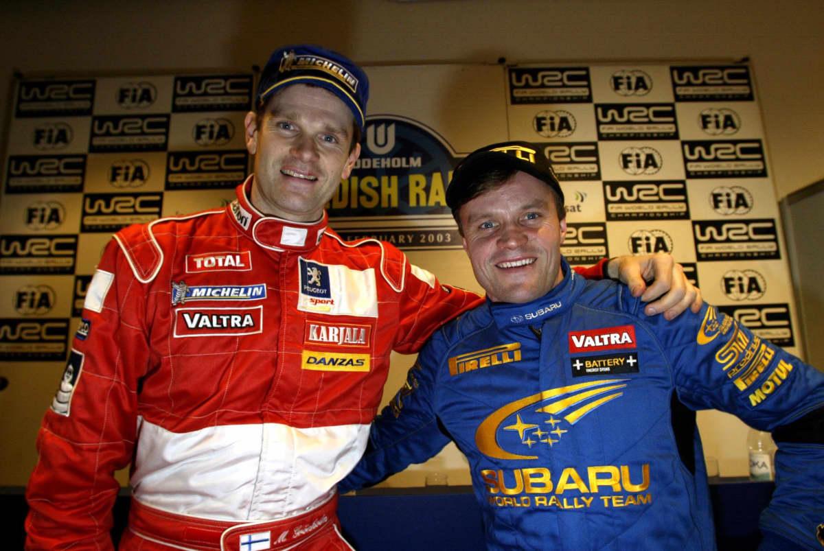 Marcus Grönholm ja Tommi Mäkinen Ruotsin rallissa 2003.