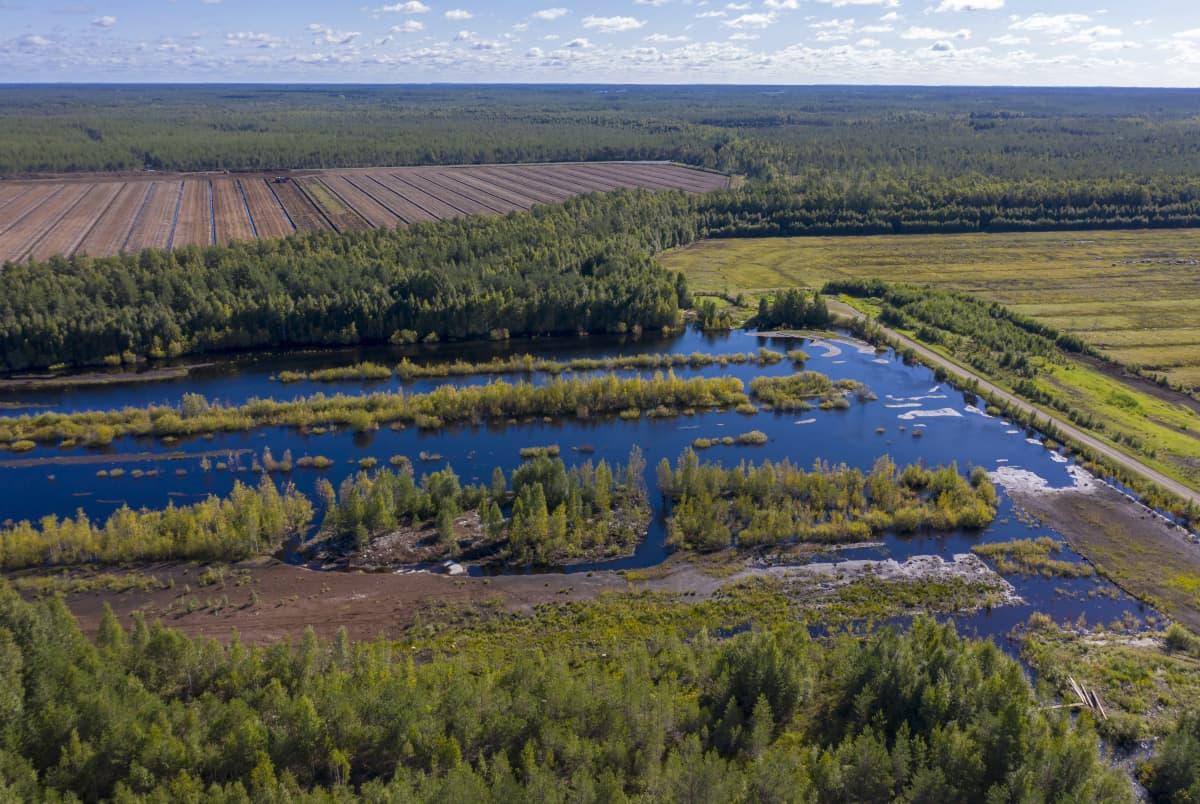 Veden peittämä entinen turvetuotantoalue