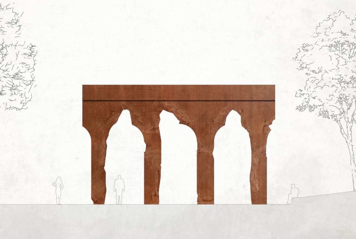 Viiskulman taidekilpailun voittaja Kylän portti