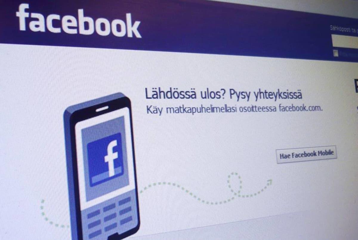 Facebookin kirjautumissivu