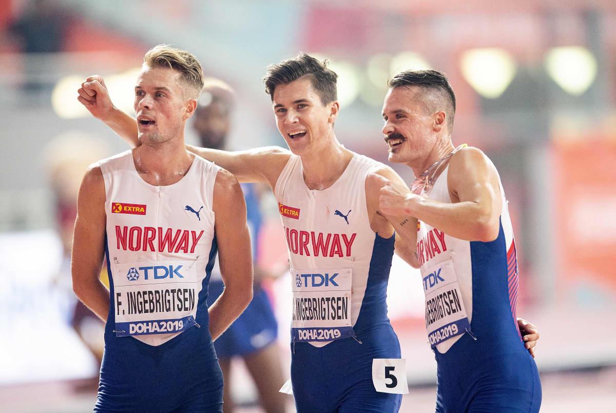 Filip Ingebrigtsen, Jakob Ingebrigtsen ja Henrik Ingebrigtsen Dohan MM-kisoissa vuonna 2019.