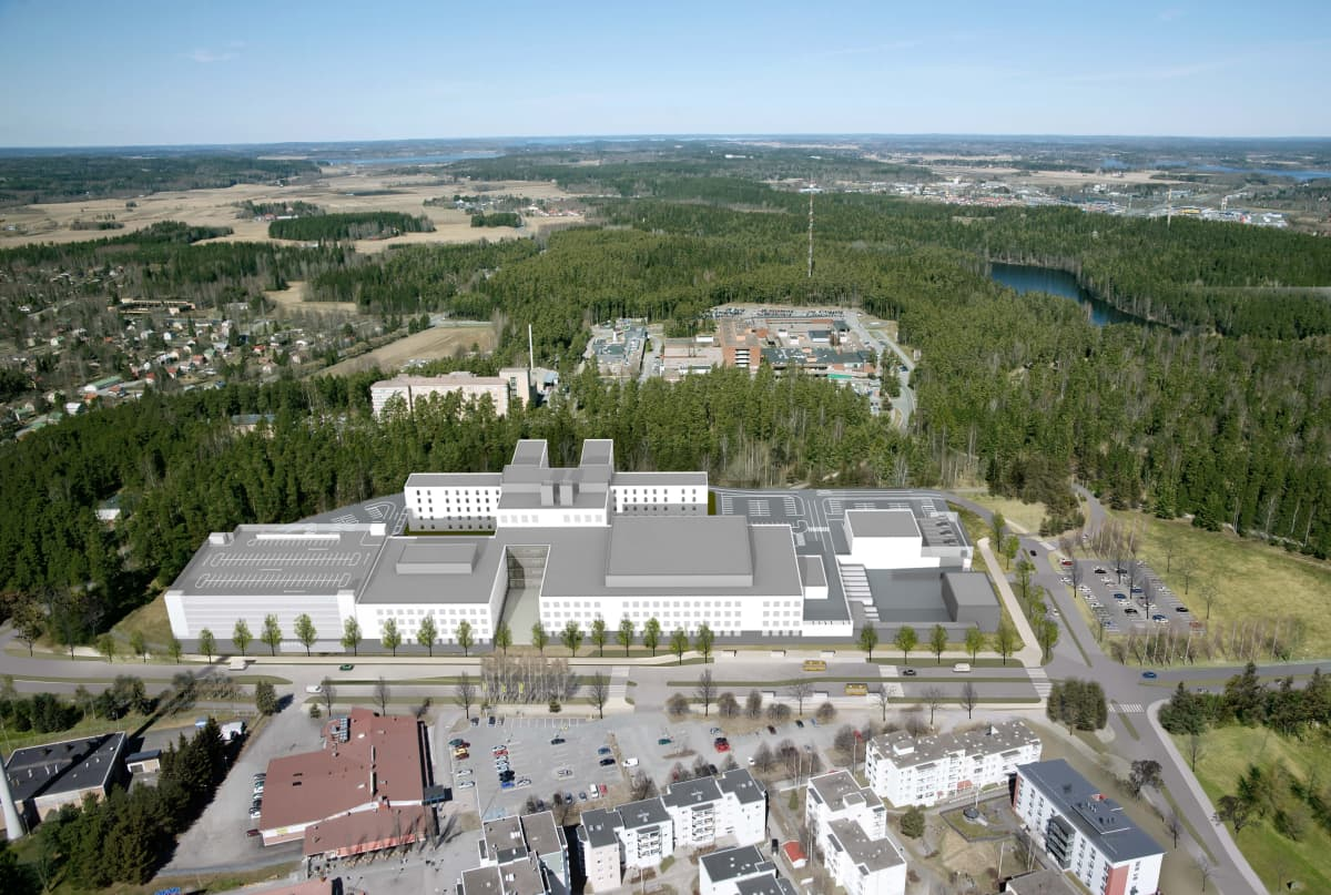 Havainnekuvan uudesta Assi 3.1 -sairaalasta Jukolasta päin kuvattuna.