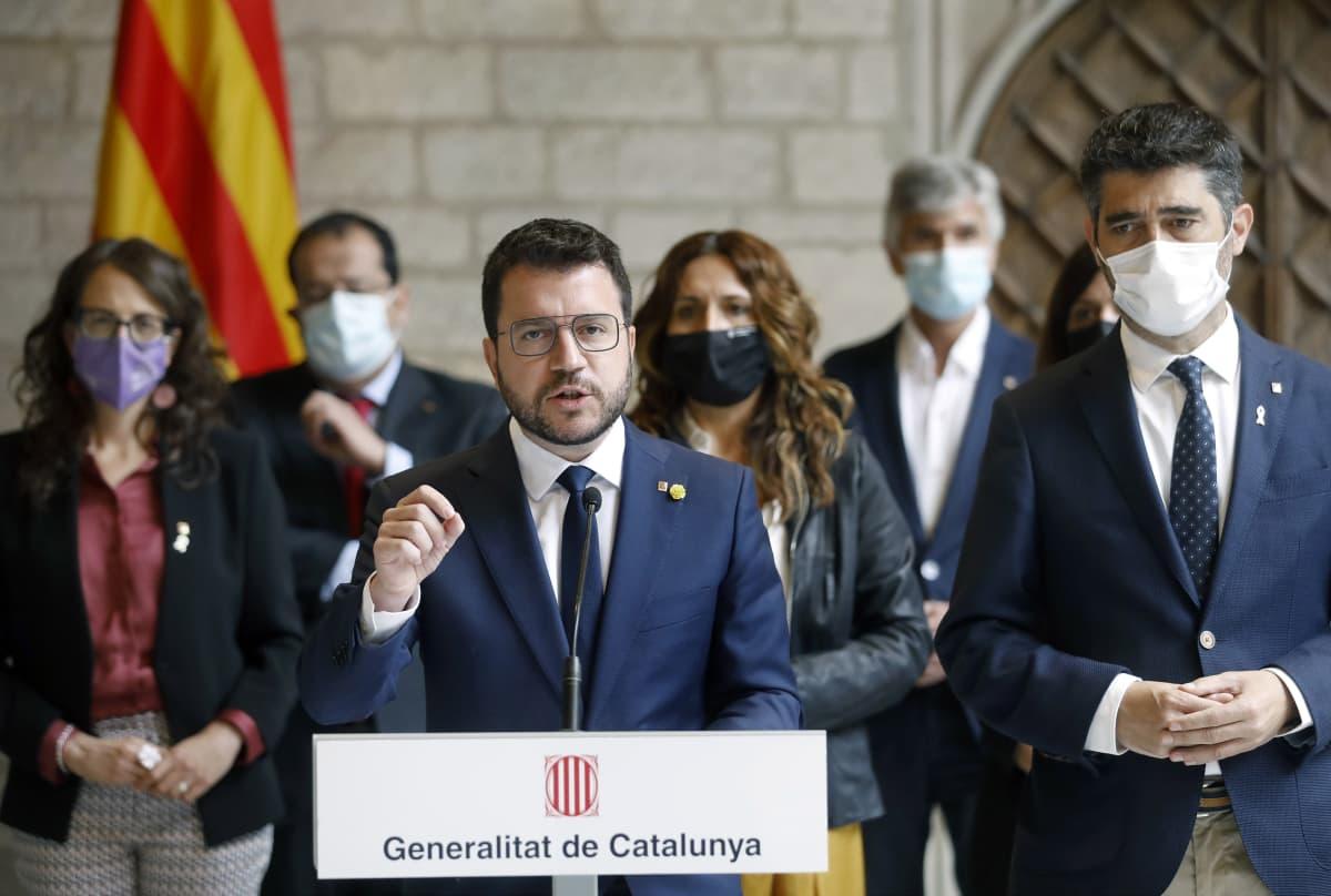 Katalonian nykyinen aluejohtaja Pepe Aragones vaati perjantaina Barcelonassa  Carles Puigdemontin vapauttamista.