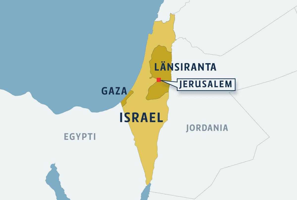 Kartta missä Israel, Länsiranta ja Gaza sekä Jerusalem