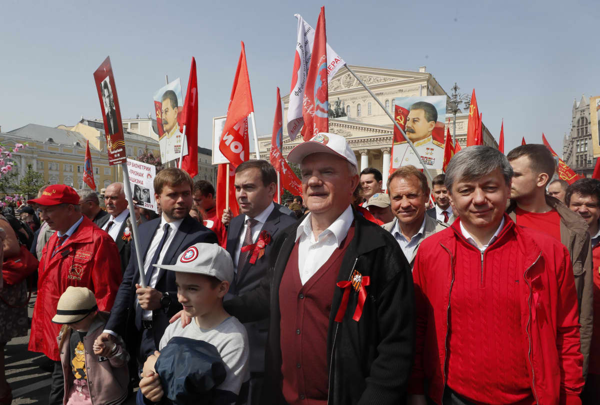 Russia's Communist party (KPRF) leader Gennady Zuganov (C) takes part in a demonstration in Moscow, Russia, 09 May 2019. Russia marked the 74th anniversary of the victory over Nazi Germany in World War II.
