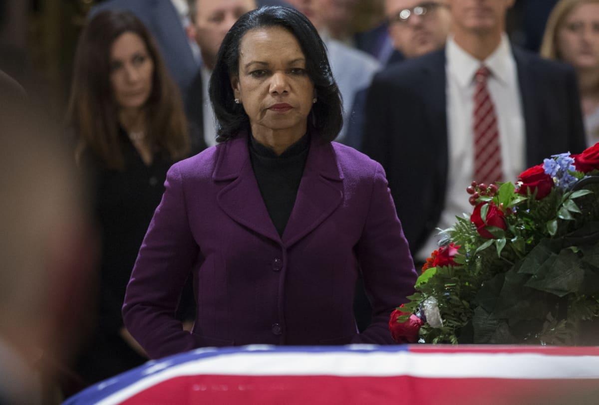 Condoleezza Rice Yhdysvaltojen entisen presidentin George H. W. Bushin hautajaisissa 4. joulukuuta 2018.
