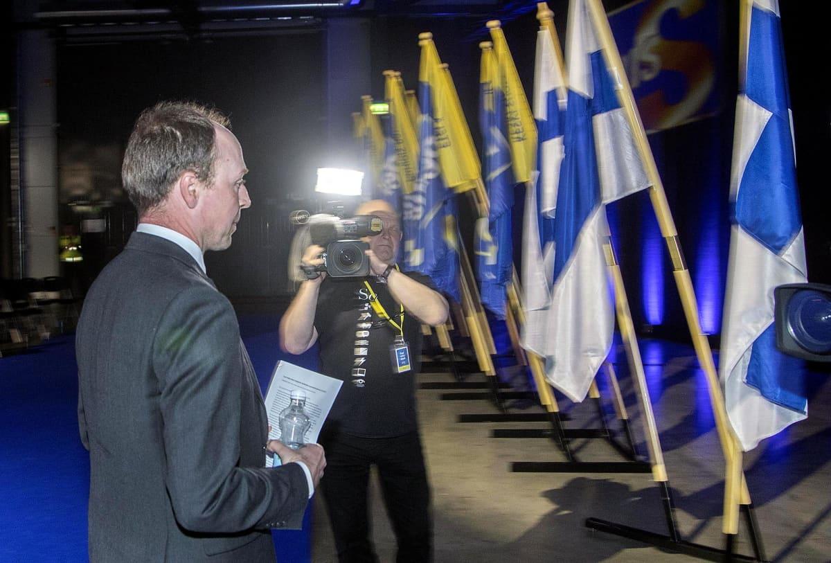 Jussi Halla-aho puoluekokouksessa Jyväskylässä vuonna 2017.