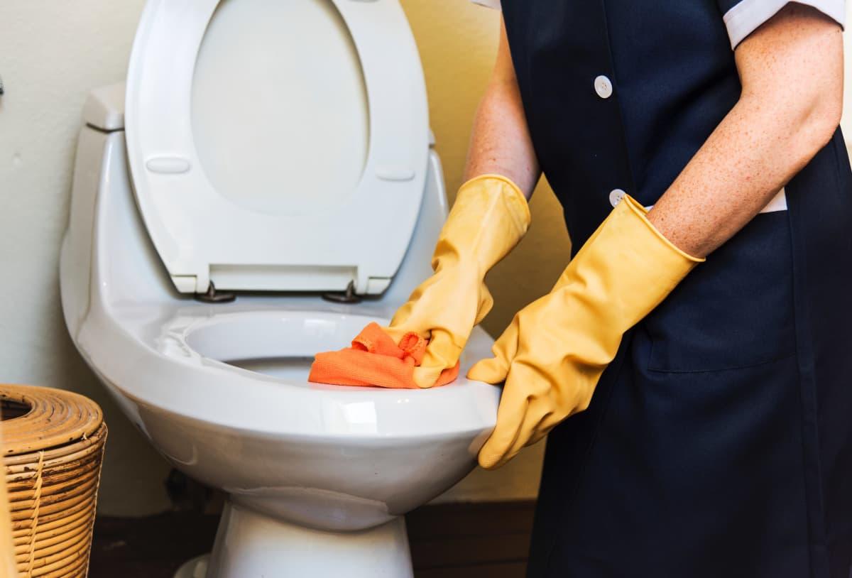 Siivooja pyyhkii vessanpyttyä.