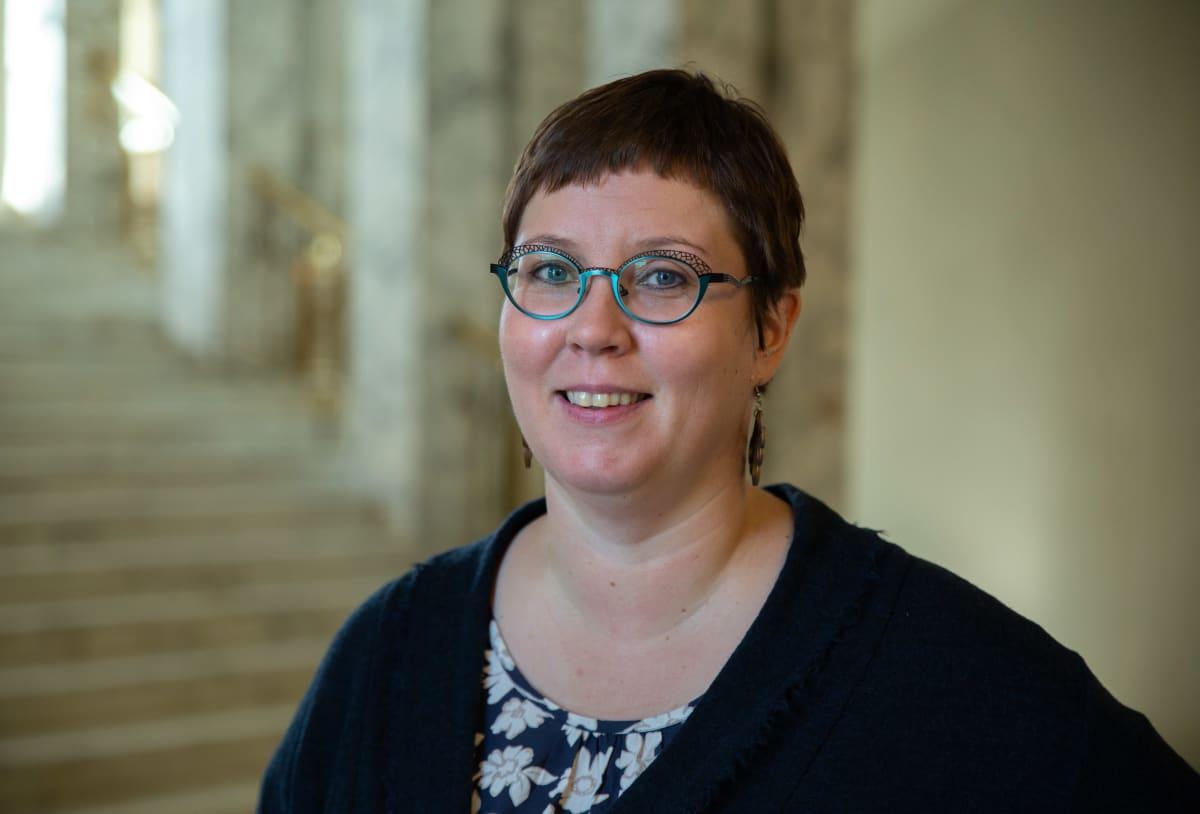 Vasemmistoliiton kansanedustaja Merja Kyllönen Eduskunnassa syyskuussa 2019.