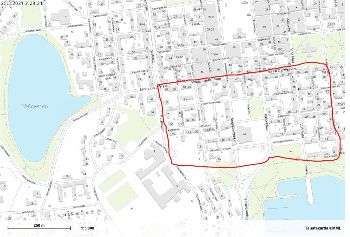 Kuopion kartta, johon on merkattu alue, jossa vedenlaatuhäiriöt voivat olla mahdollisia 25.3. aamupäivän aikana.