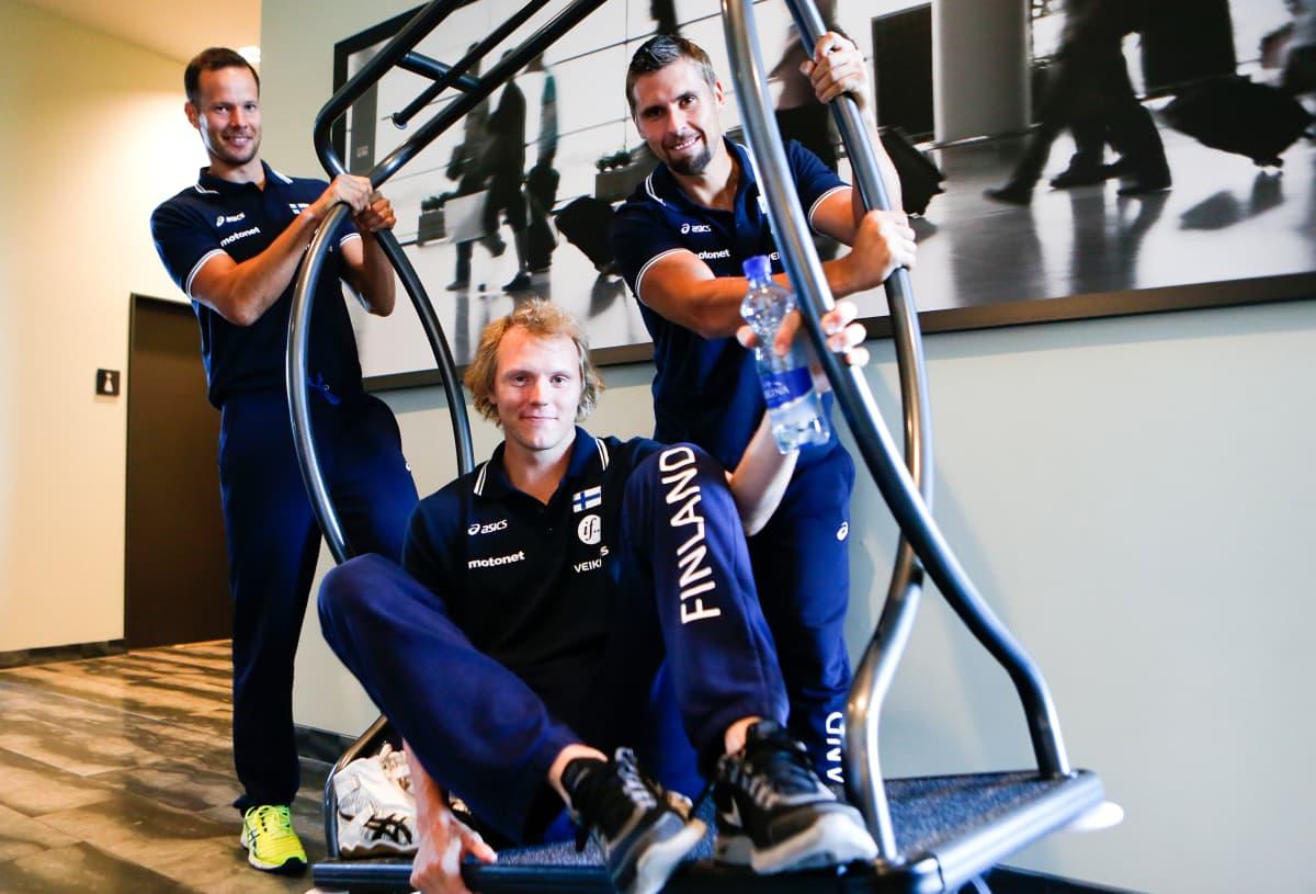 Tero Pitkämäki (vas.), Lassi Etelätalo ja Antti Ruuskanen