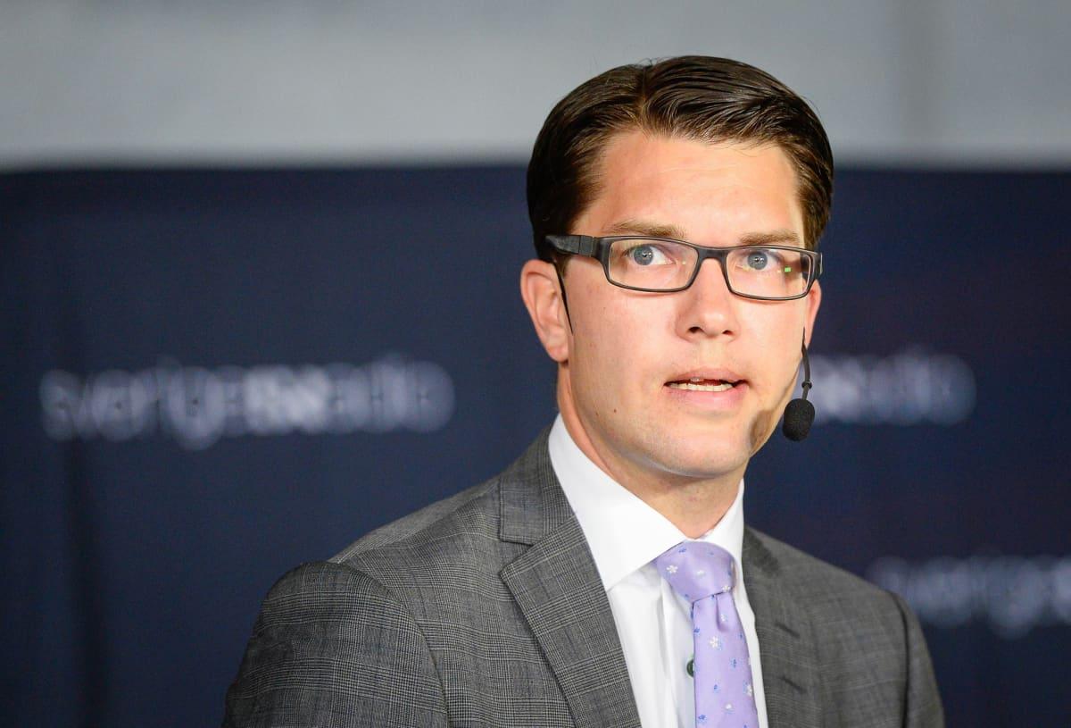 Ruotsidemokraattien puheenjohtaja Jimmie Åkesson syyskuussa 2014.