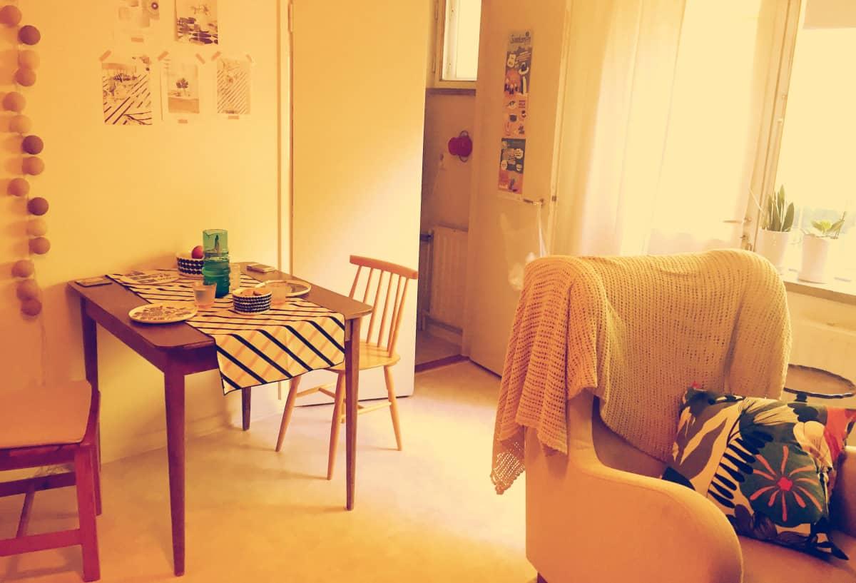 Opiskelija-asunnon olohuone.