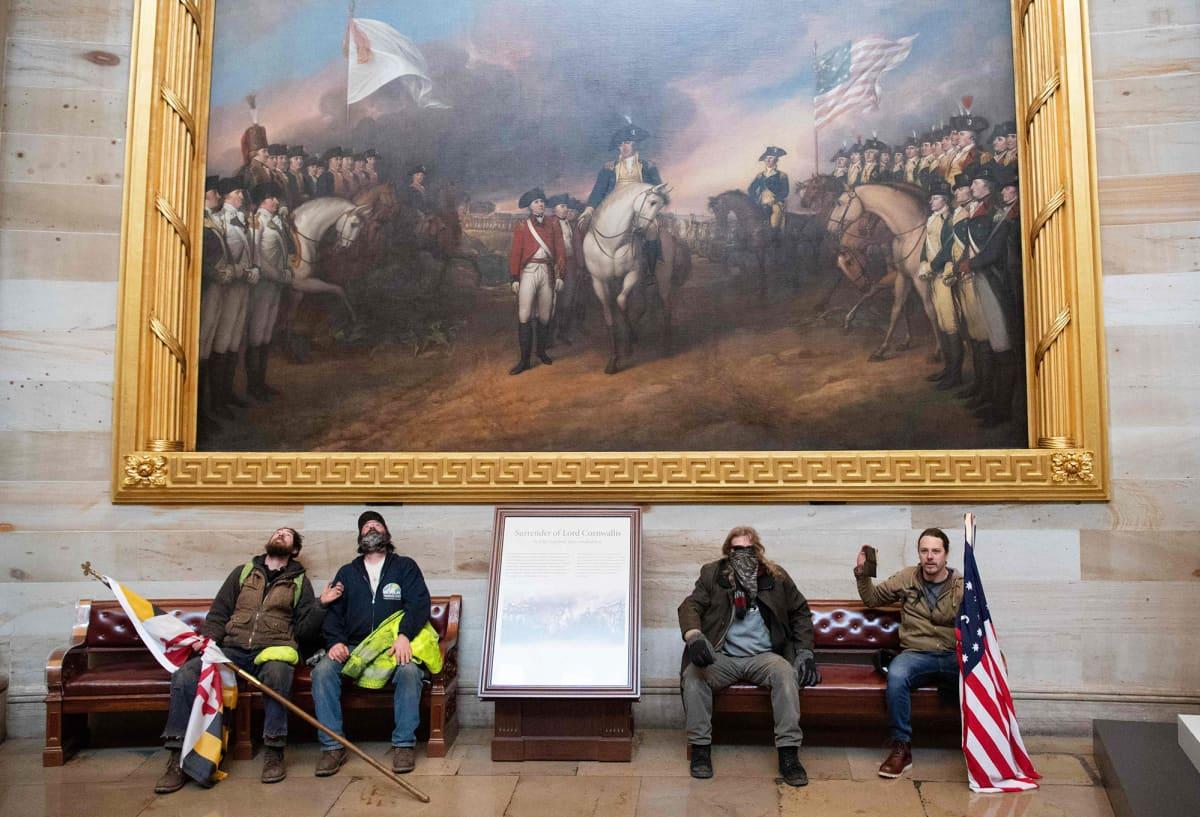 Mielenosoittajat istuvat maalauksen alla Yhdysvaltain kongressitalossa Washington DC:ssä.