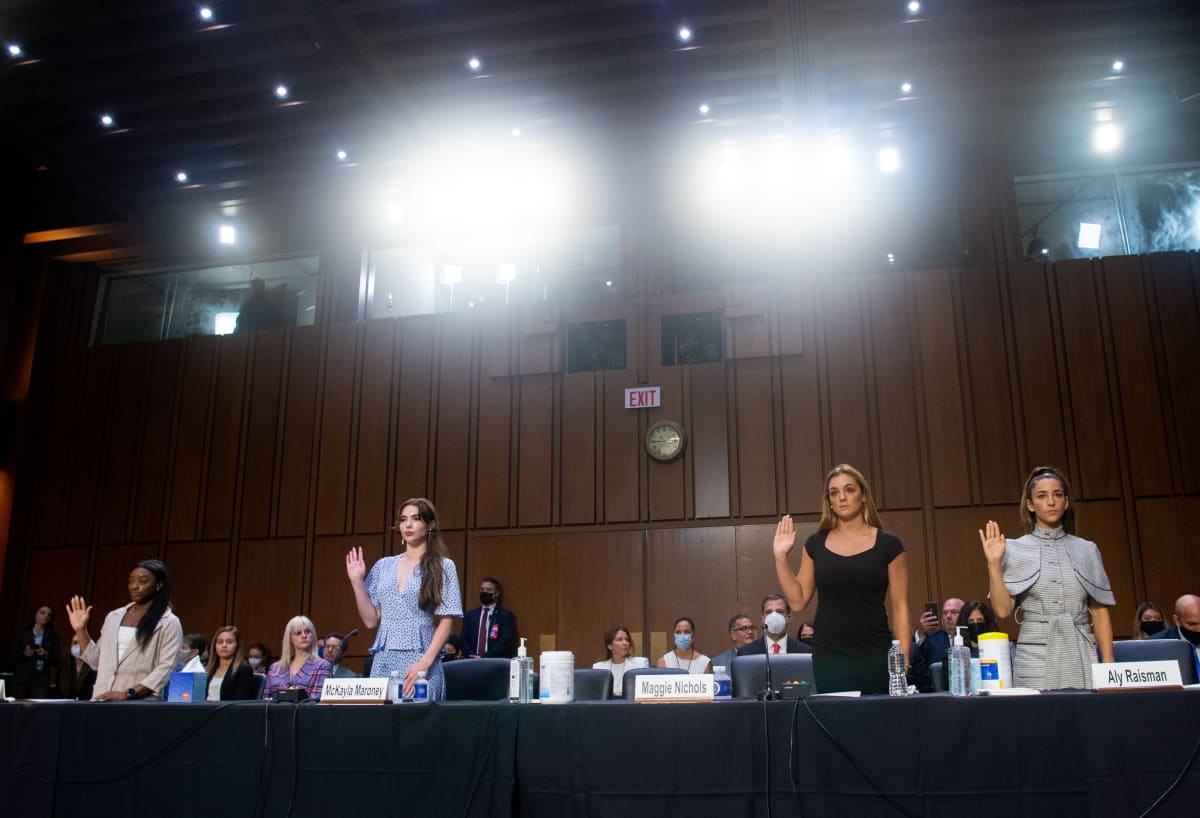U.S. gymnasts Simone Biles, McKayla Maroney, Maggie Nichols and Aly Raisman are sworn in to testify during a Senate Judiciary hearing about the Inspector General's report on the FBI handling of the Larry Nassar investigation of sexual abuse of U.S. gymnasts, on Capitol Hill, September 15, 2021 in Washington, DC.