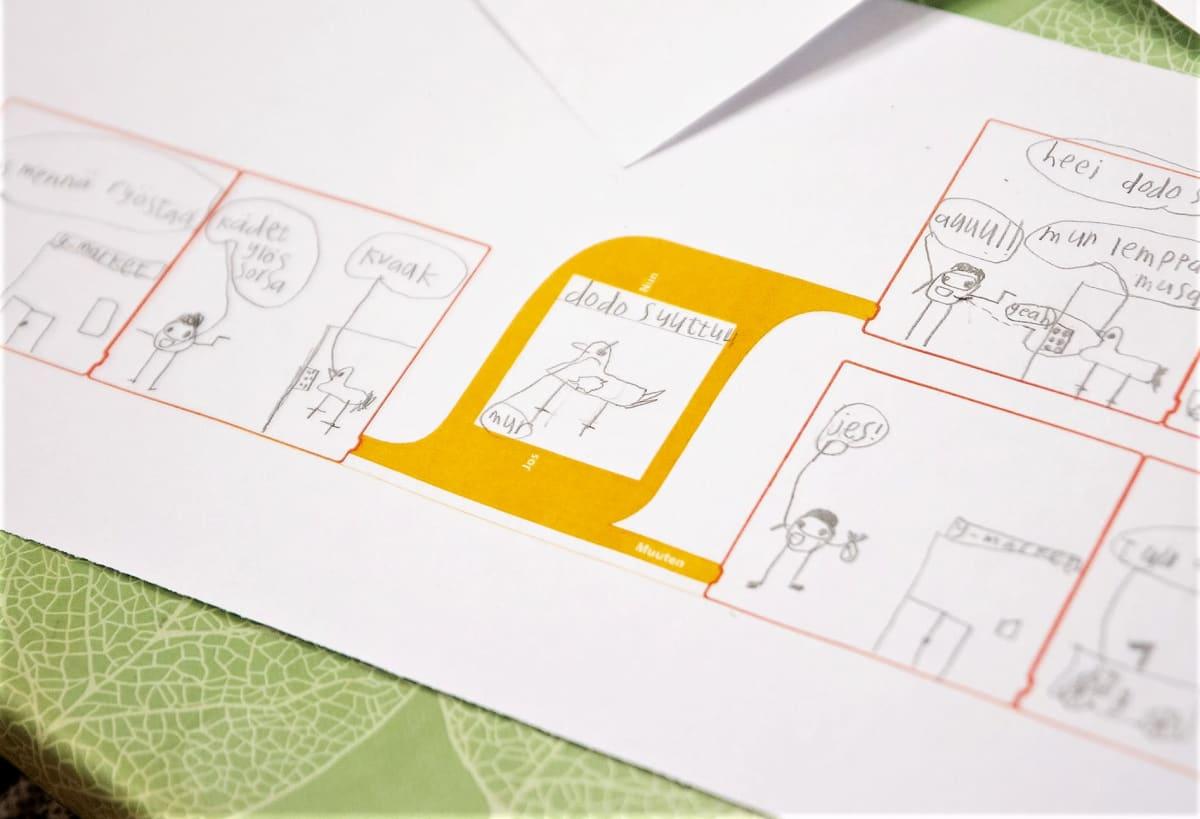 Viidesluokkalaisen piirtämä sarjakuva