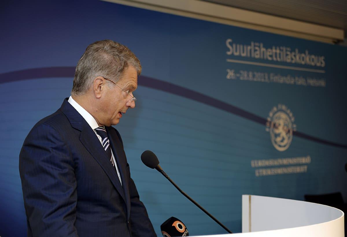 Presidentti Sauli Niinistö puhui suurlähettiläspäivillä Finlandia-talossa Helsingissä 27. elokuuta.