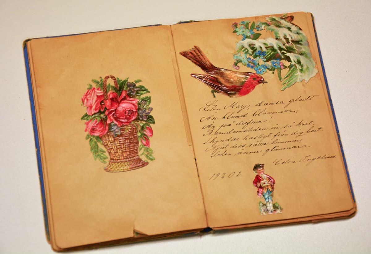 Muistovihkoihin kirjoitettiin värssyjä ja liimattiin kiiltokuva sen viereen. Kuvan muistovihko on 1900-luvun alusta ja Marja Nevalaisen kokoelmasta