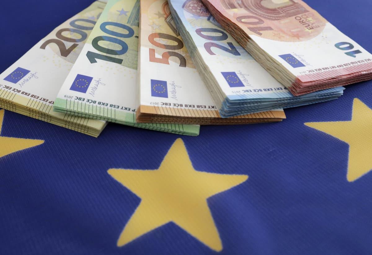 Euroseteleitä EU-lipun päällä
