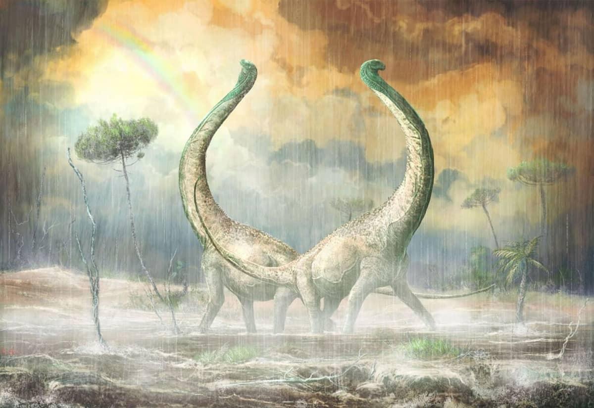 Piirroskuva kahdesta pitkäkaulaisesta dinosauruksesta kurottelemassa sateiselle taivaalle. Taustalla sateenkaari.