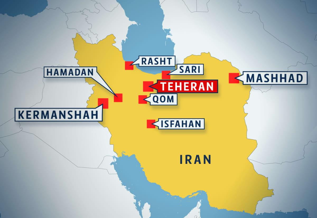 Kartta Iranin kaupungeista, joissa on ollut joulukuun lopussa 2017 mielenosoituksia.