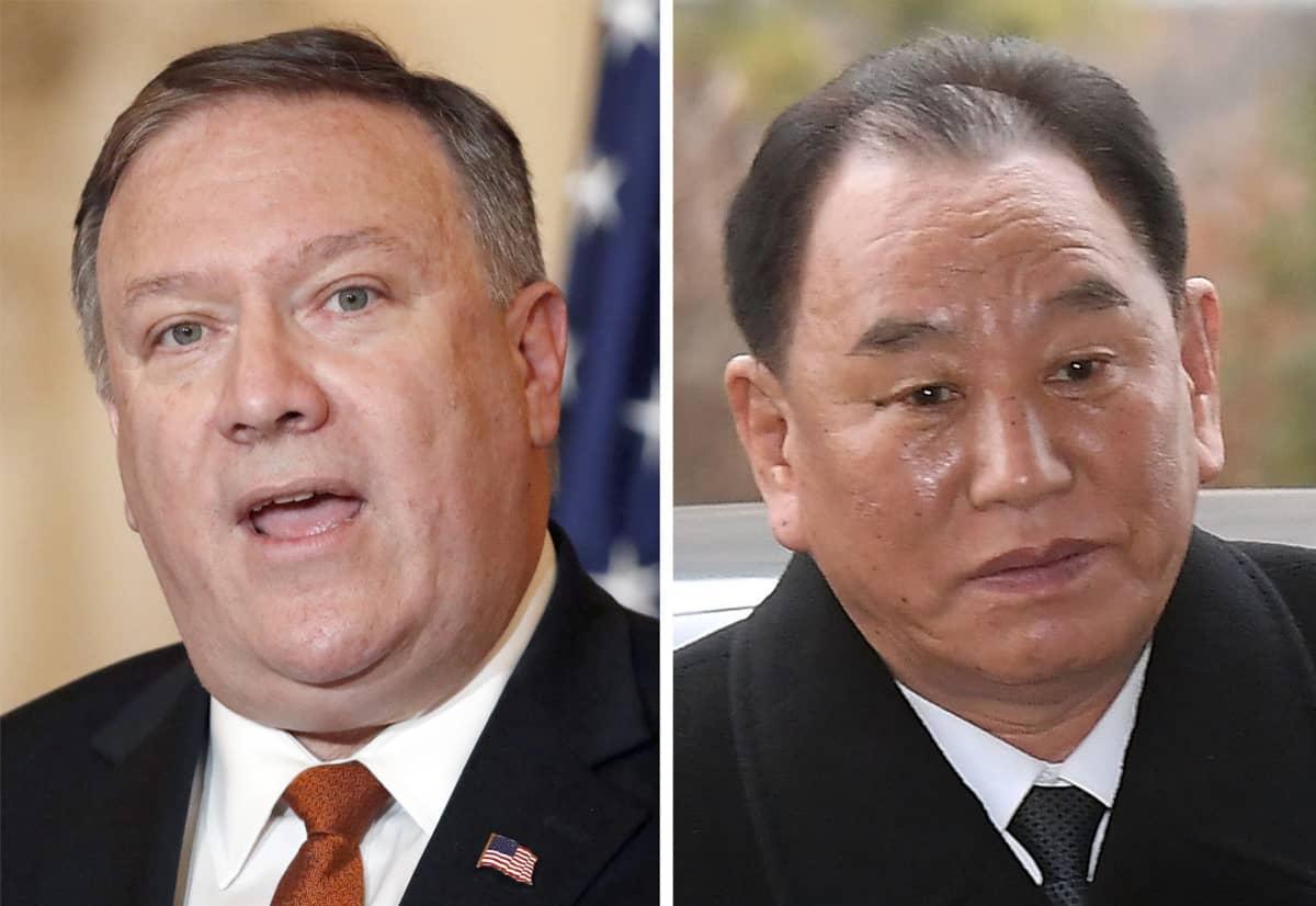 Ulkoministeri Mike Pompeo ja Pohjois-Korean työväenpuolueen varajohtaja Kim Yong-chol.