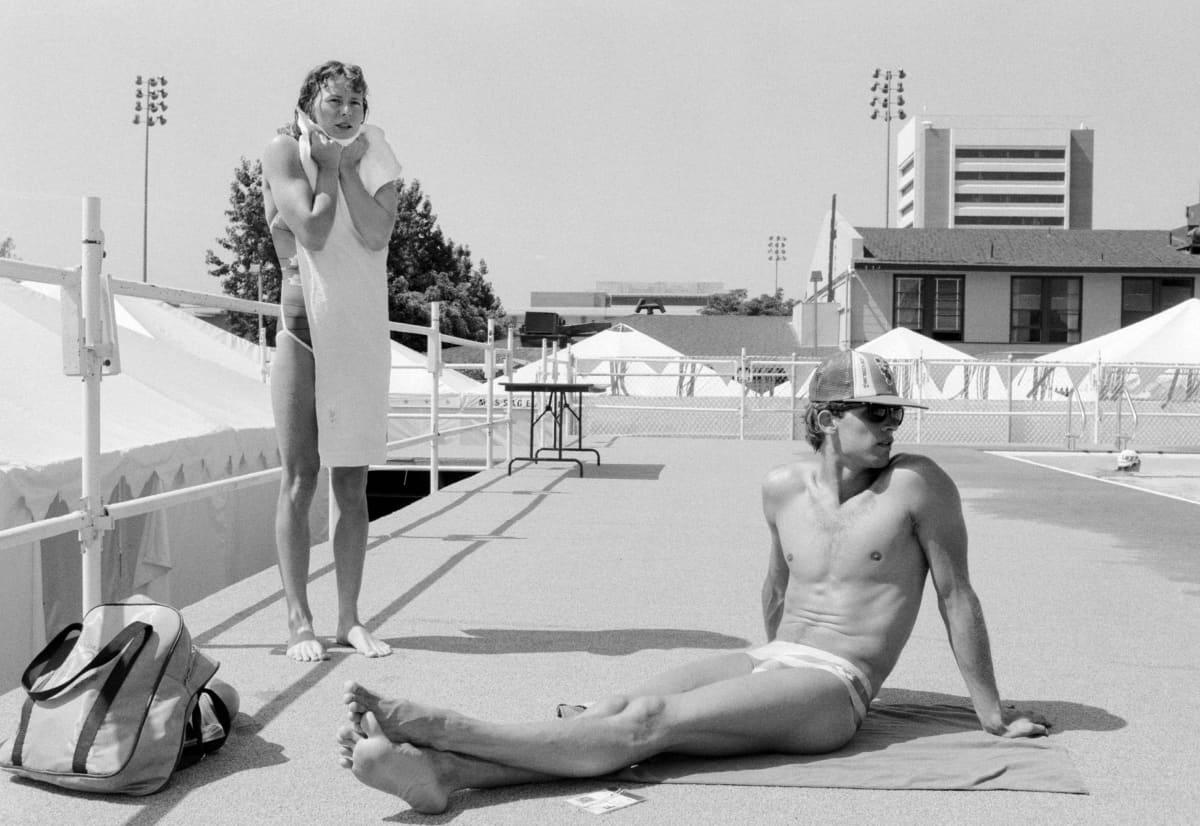 Maarit Sihvonen ja Martti Järventaus Los Angelesin olympialaisissa 1984