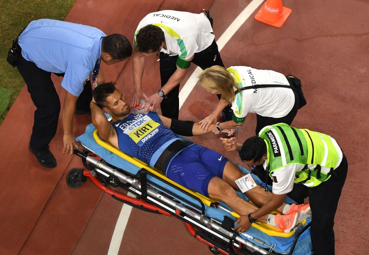 Magnus Kirt loukkaantui vakavasti lokakuussa 2019 heitetyssä Dohan MM-finaalissa.