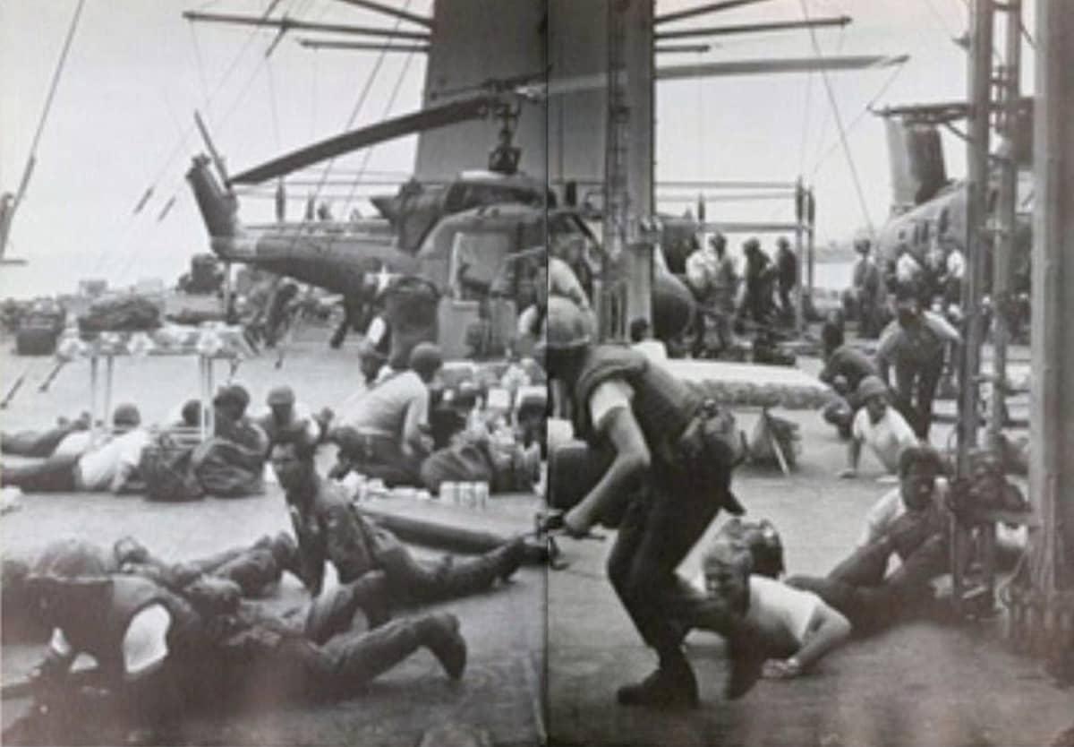 Helikopterikenttä ja yleensä sekaannusta kun Yhdysvallat evakuoi ihmisiä Saigonista huhtikuussa 1975