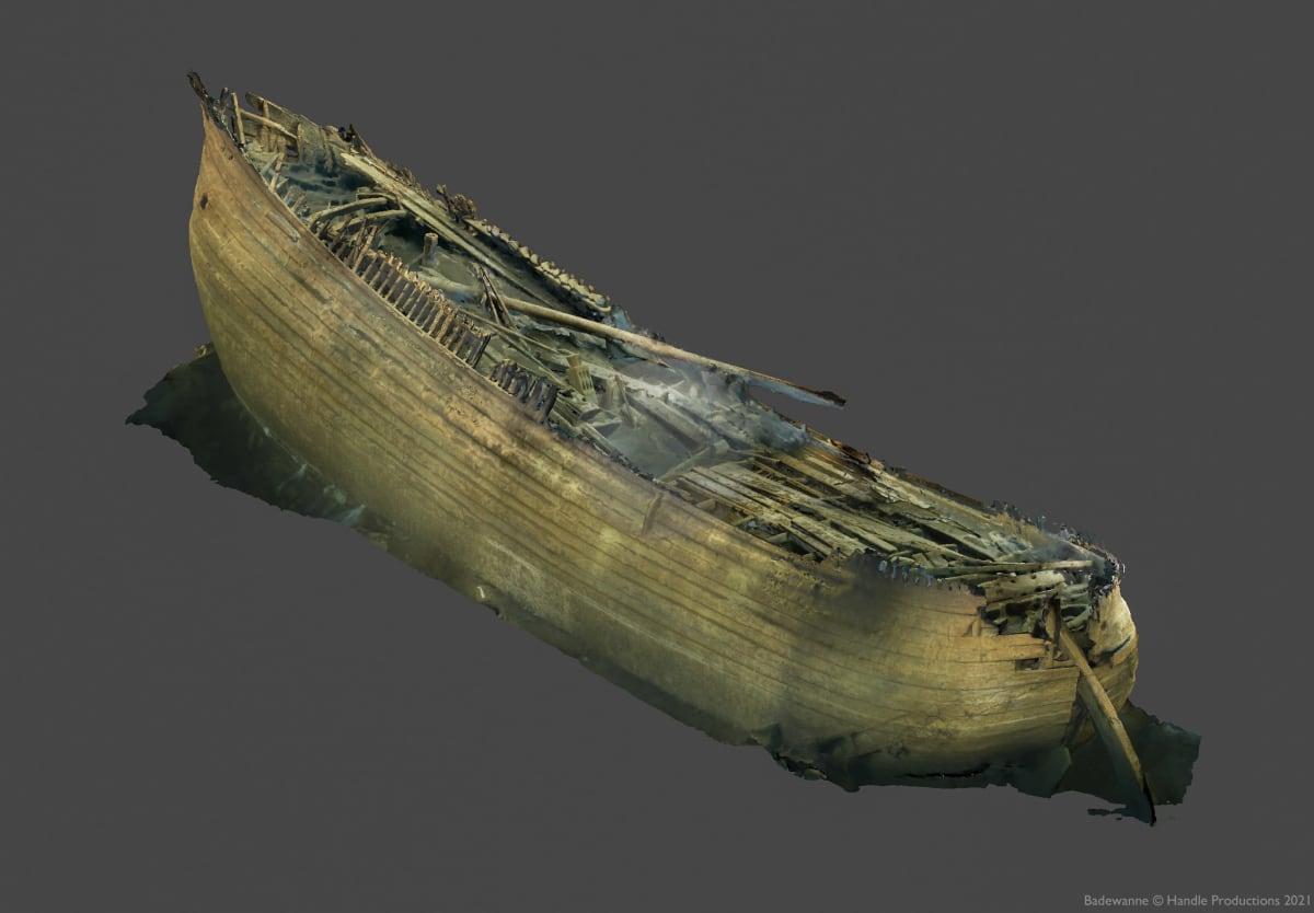 3D-mallinnus Suomenlahden pohjasta löytyneestä flöitti-hylystä