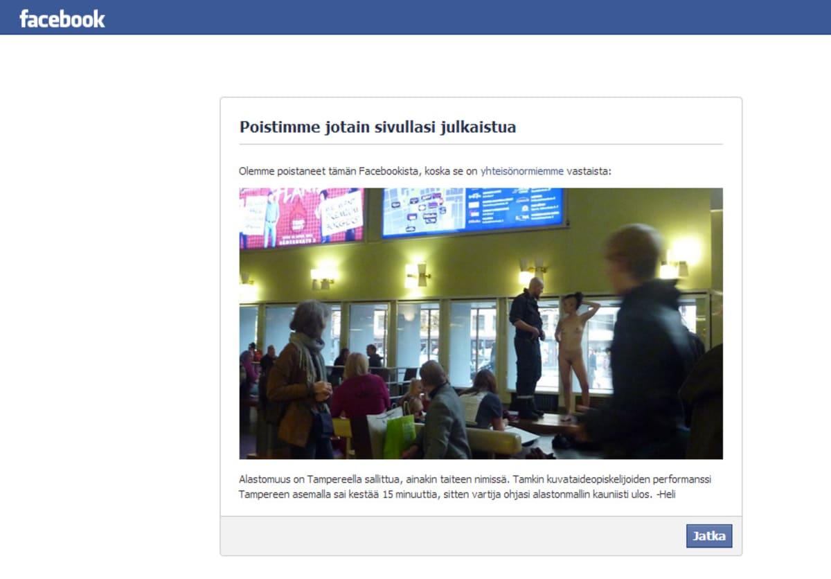Kuvakaappaus Facebookista poistetusta taideperformanssin kuvasta