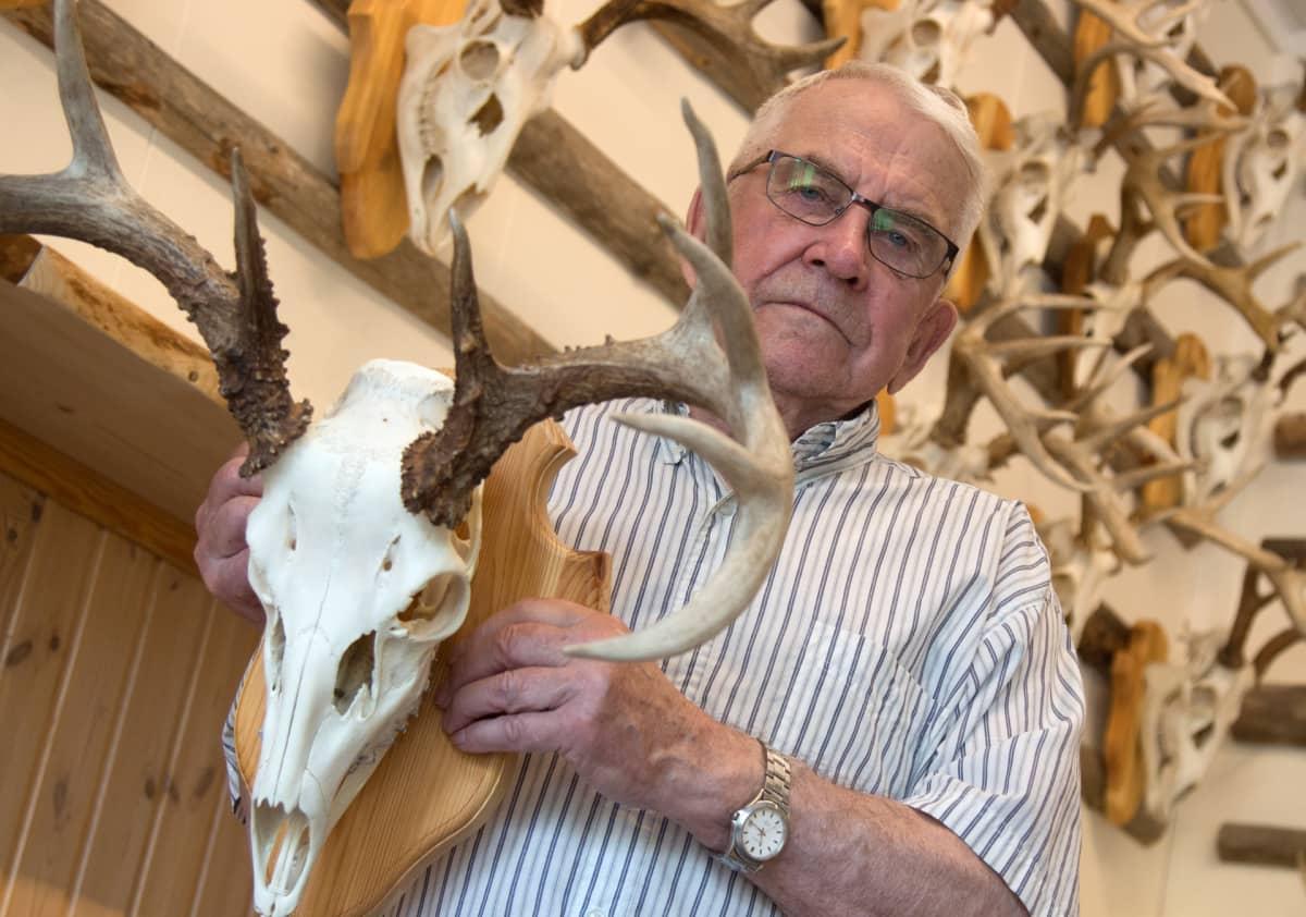 Risto Komu kädessään sarvipäisen peuran kallosta tehty metsästysmuisto