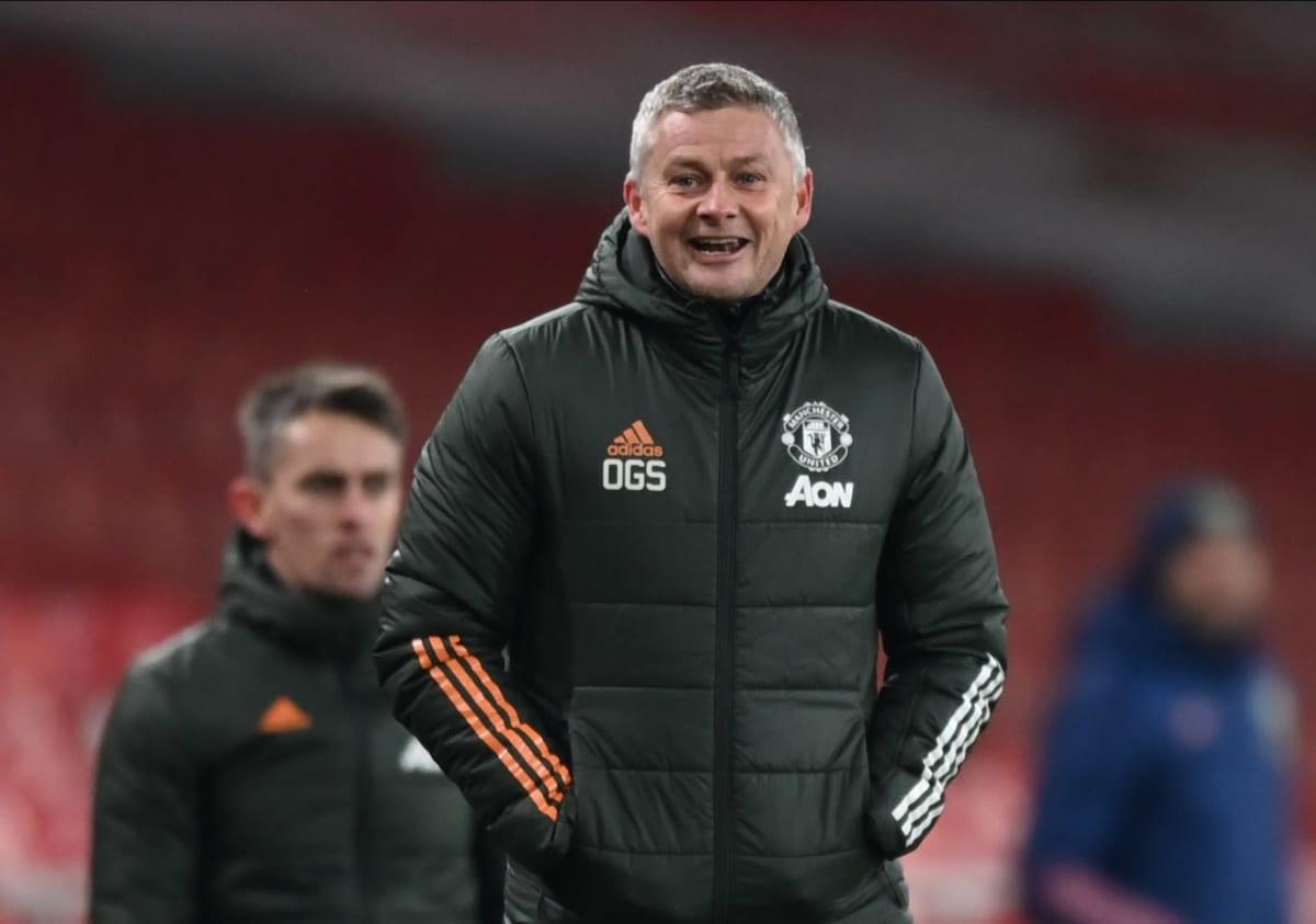 Manchester Uniteds tränare Ole Gunnar Solskjær under matchen mot Arsenal.