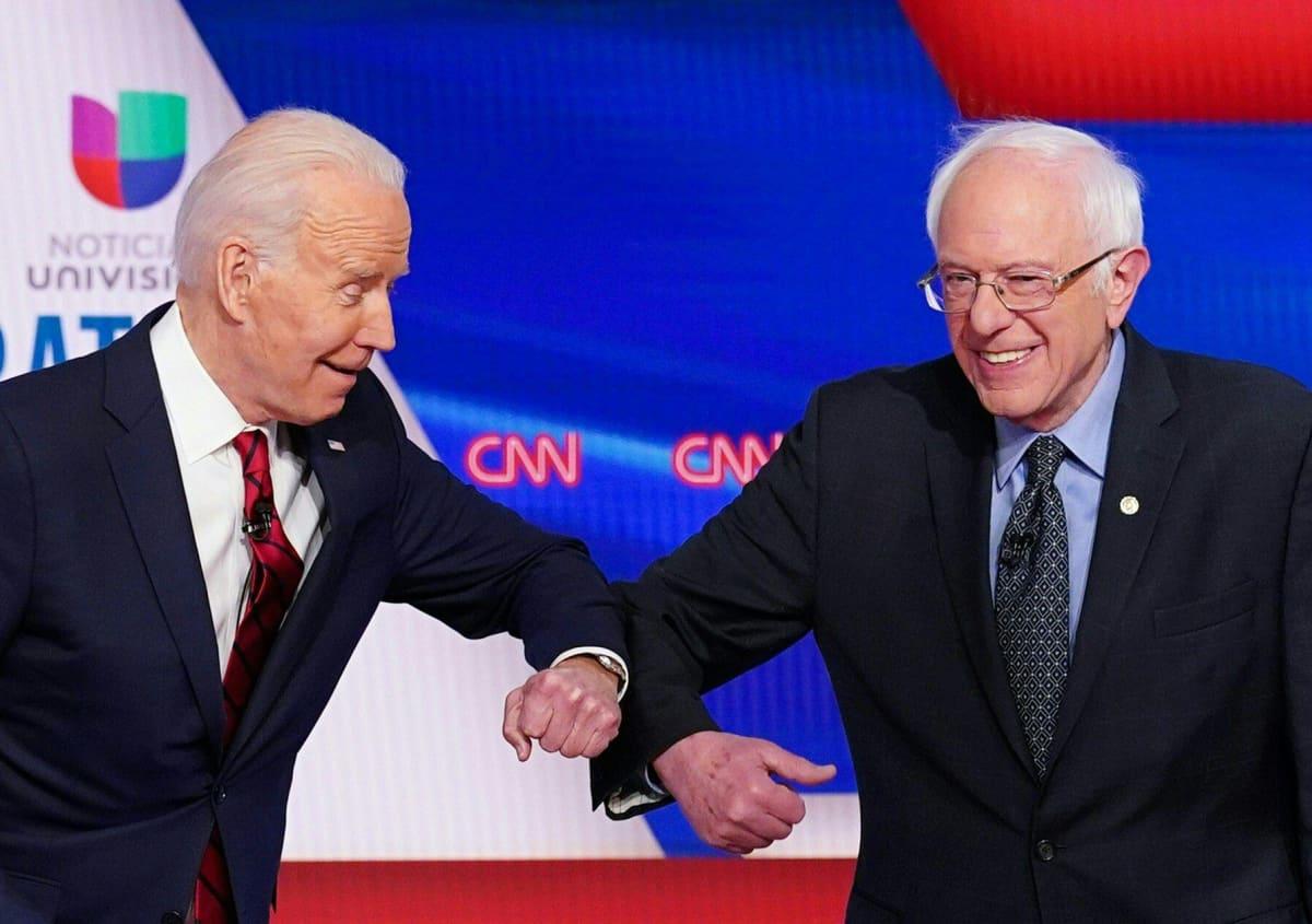 Joe Biden ja  Bernie Sanders.