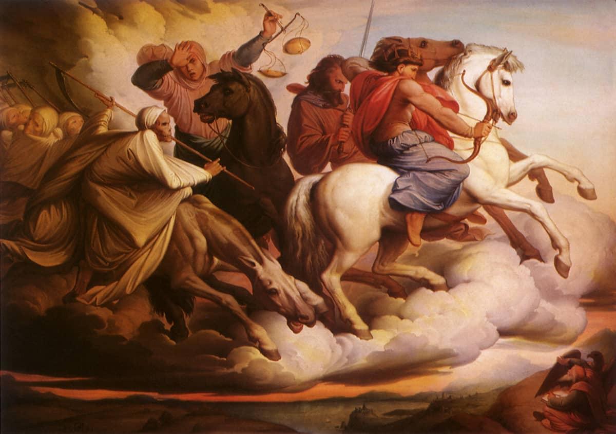 Maalaus neljästä Johanneksen ilmestyksen kuudennessa luvussa mainitusta ratsumiehestä. The Four Horsemen of the Apocalypse, Steinle, Jacob Von, 1860.